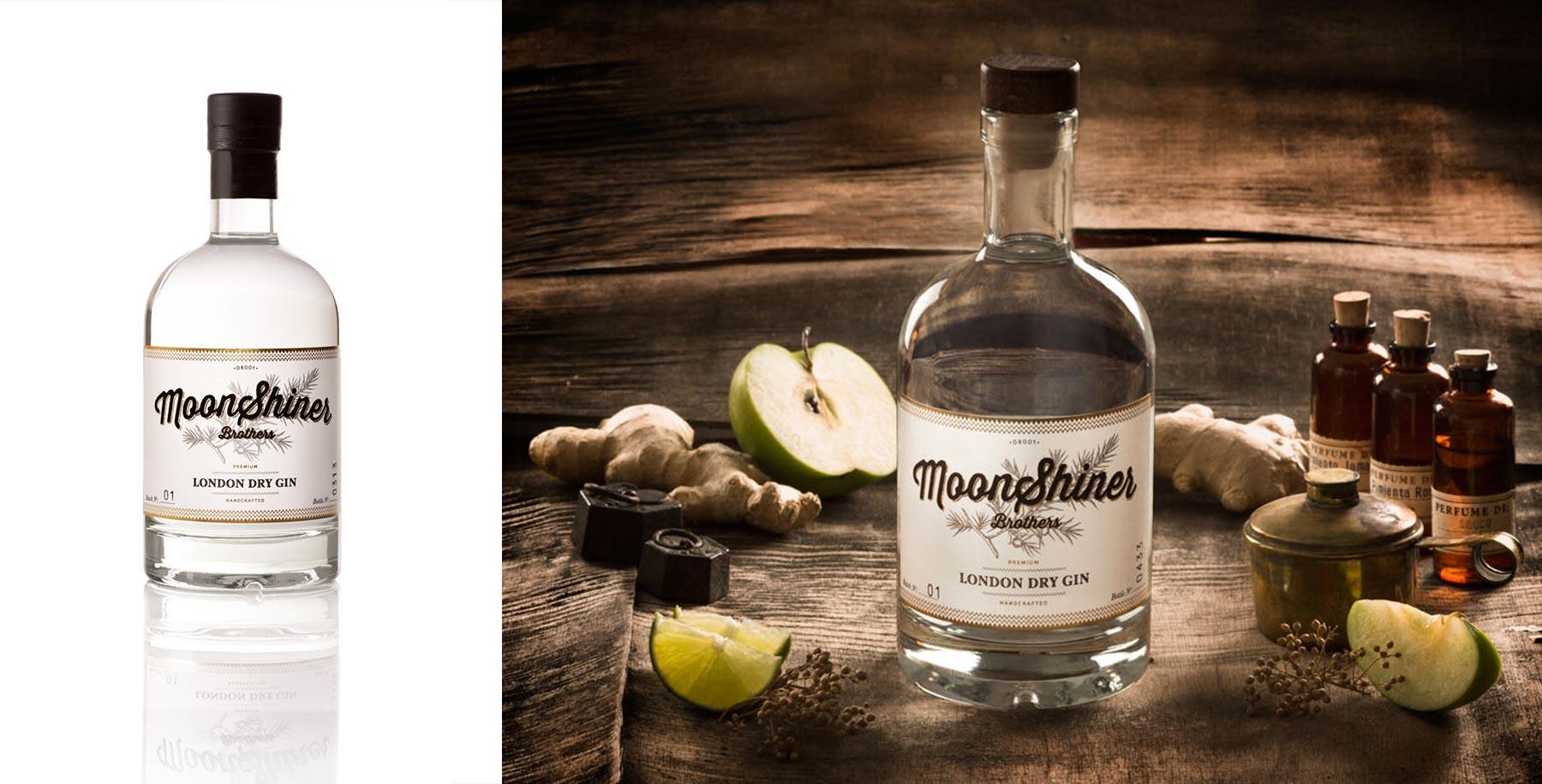 fotografía publicitaria para el gin moonshiner