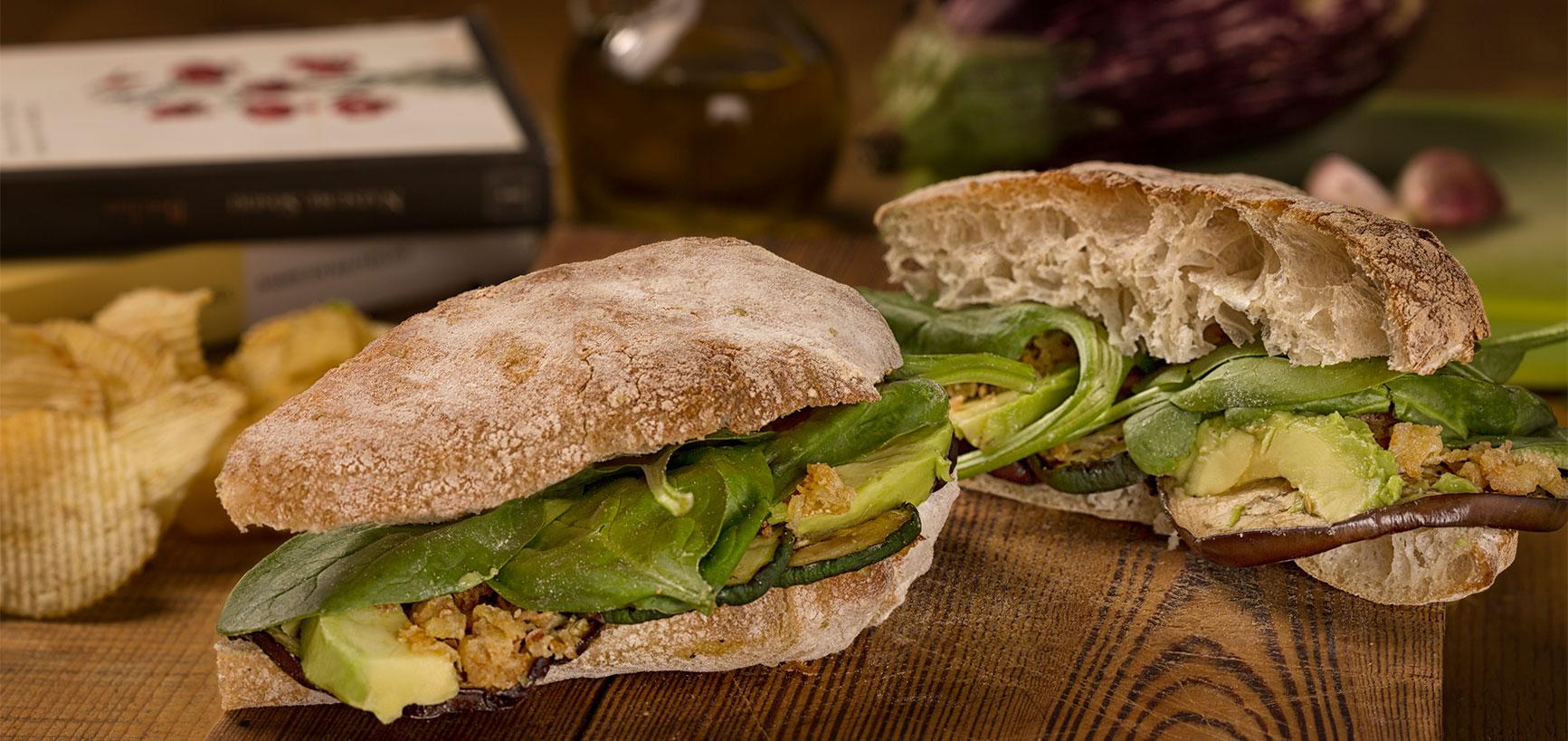 fotografía comida bocadillo vegetal